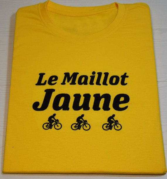 Embroidered T-shirt Le Maillot Jaune Yellow Jersey cycling t-shirt Tour de France
