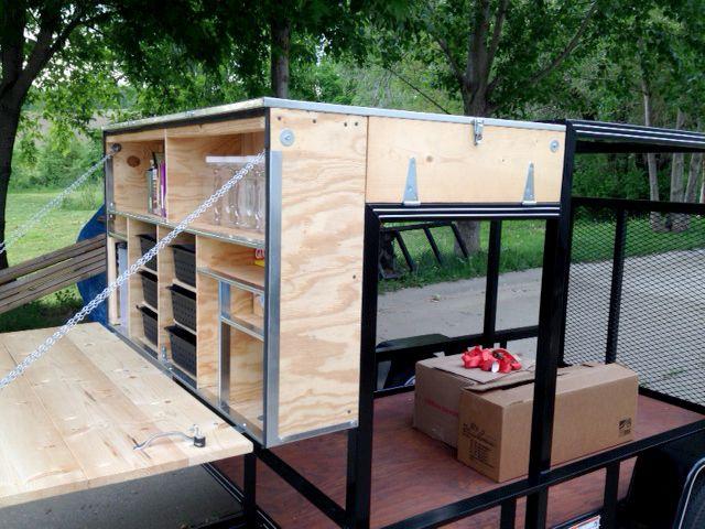 Side view of kitchen camping trailer diy pinterest for Camp trailer kitchen designs