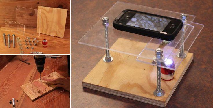 Como hacer un microscopio digital casero: un teléfono 'móvil', un taladro, brocas surtidas, regla, una luz LED y una pieza de plexiglás