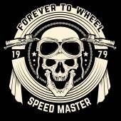 Caveira motoqueiro vintage — Vetor de Stock