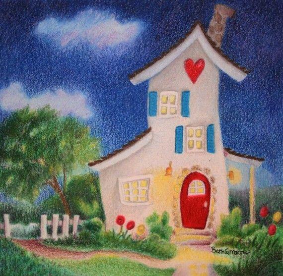 Original Drawing | Colored Pencil Drawing | Whimsical House | Pencil  Drawing | Blyertsteckningar, Färgpennor och Färglagda blyertsteckningar