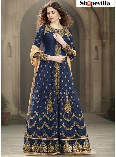 Glitzy Blue Colour Bangalore Silk Designer Anarkali Suit-1501-Blue