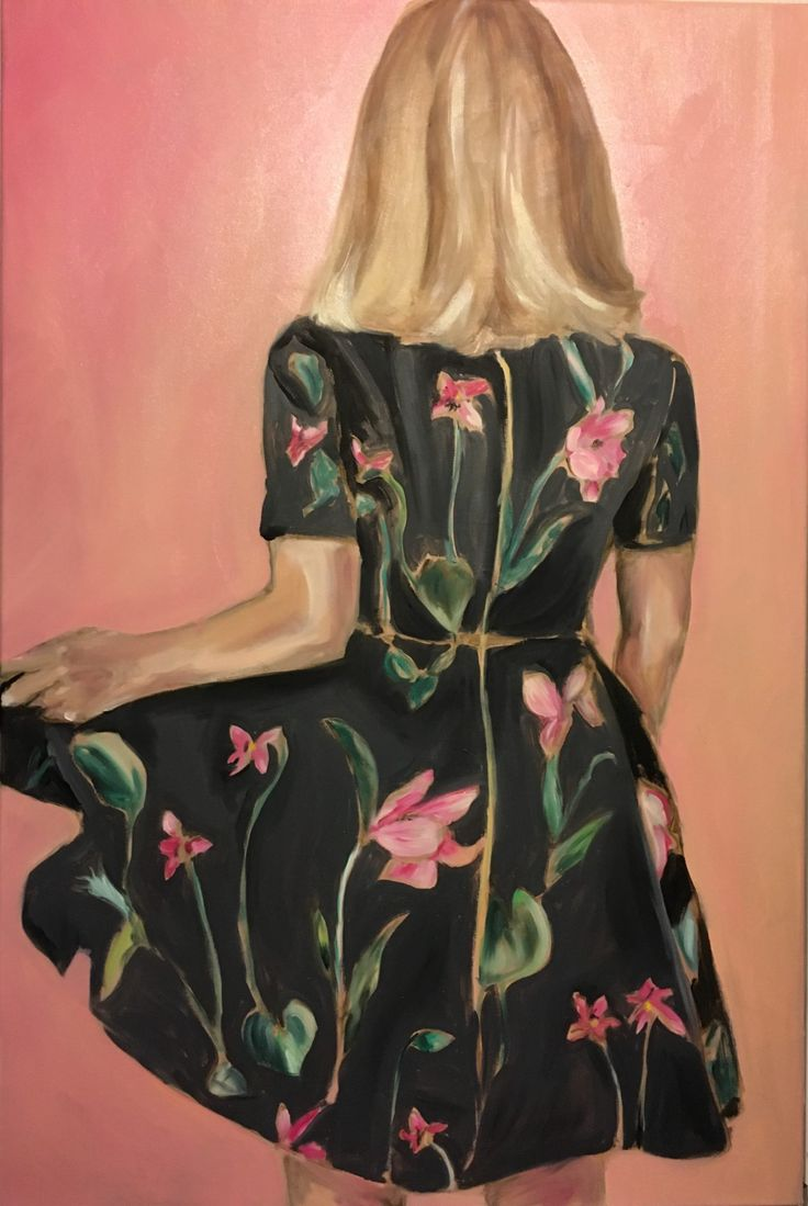 FINEARTSEEN - View Twirl by Leslie Singer. A beautiful original oil painting of a woman wearing a floral dress. New York-based artist Leslie's work signifies the importance of fashion and couture in our everyday lives and she regularly paints her outfit of the day. Available on FineArtSeen - The Home Of Original Art. Enjoy Free Delivery with every order. >