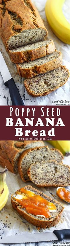 Enjoy this moist and crunchy poppy seed banana bread for breakfast, brunch or an afternoon snack. This recipe has no butter, no oil in it and is low in sugar. How to make banana bread with poppy seeds via @happyfoodstube
