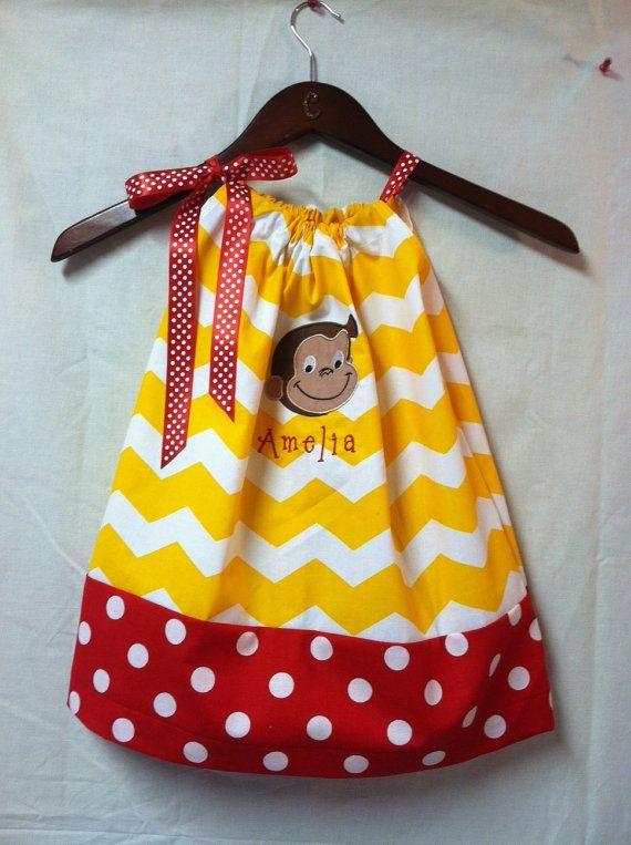 Curious George Birthday Girl clothes | Curious George Appliqued pillow cas e