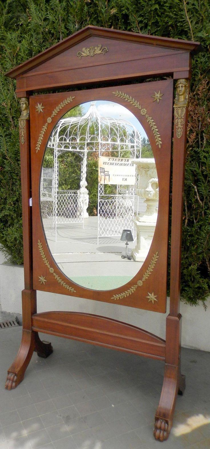 Miroir psych poque empire en acajou style empire for Miroir acajou
