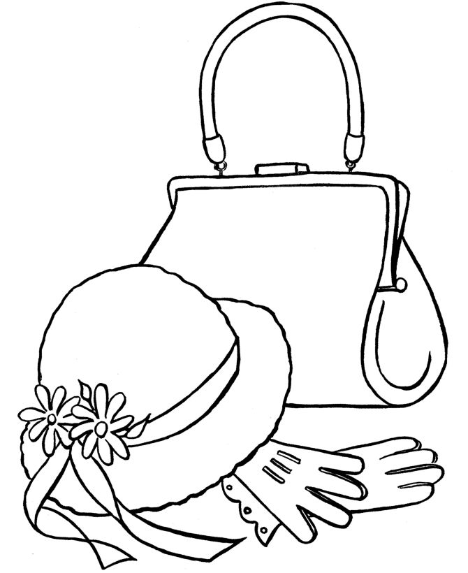 purses to color and print coloring pages free printable easter sunday hat and gloves - Colouring In Pictures To Print