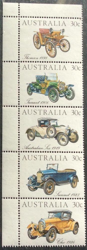 1984 Veteran & Vintage Cars 30c Set of 5 in Se-tenant Strip of 5 MUH in Stamps, Australia, By Type   eBay!