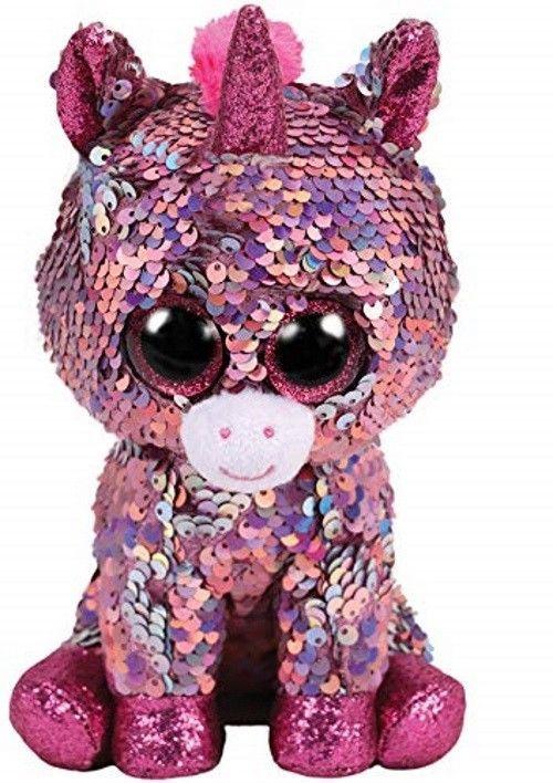 4088fe416b4 Peluche TY originale occhioni dolci unicorno rosa con paillette cambia  colore