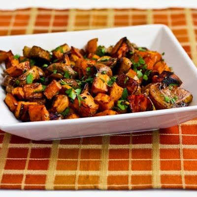 Roasted Sweet Potatoes and Mushrooms with Thyme and Parsley are Paleo and Gluten-Free, and they're absolutely delicious! [from KalynsKitchen.com] #NotJustForThanksgiving #SweetPotatoes