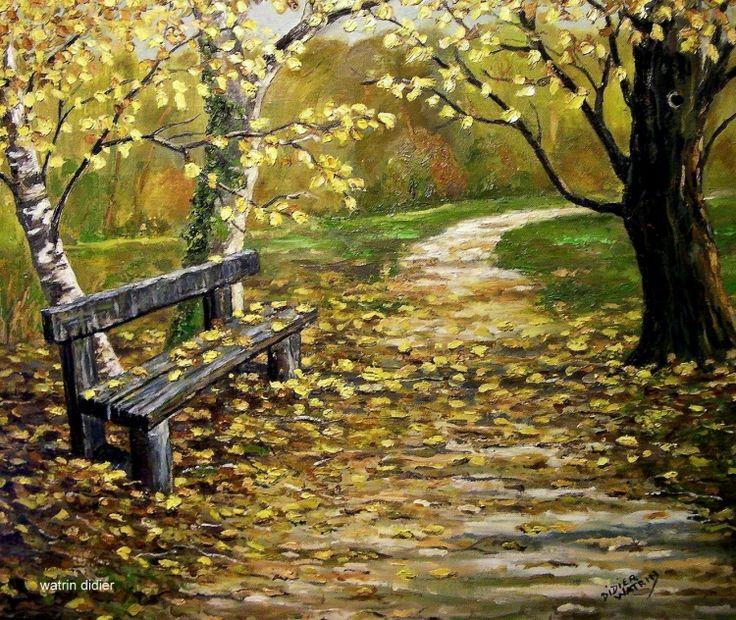 Tableau Peinture Art banc paysage chemin Peinture a l'huile - le banc oublié
