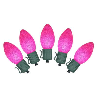 11' Battery Operated Sugared Pink LED C7 Lights