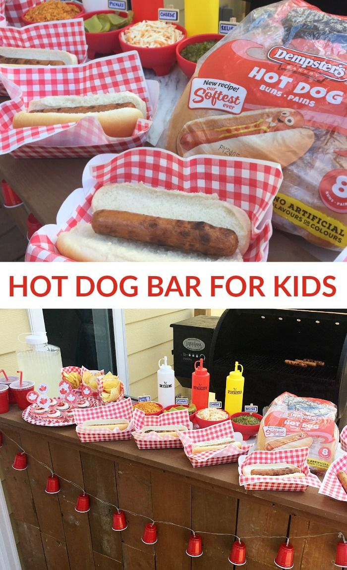 DIY HOT DOG BAR FOR KIDS -- With a BBQ hot dog bar, everyone can customize their hot dog and top it with the ingredients they love. #ad