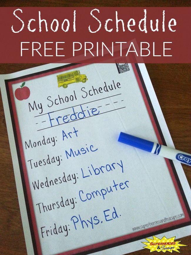 school schedule printable