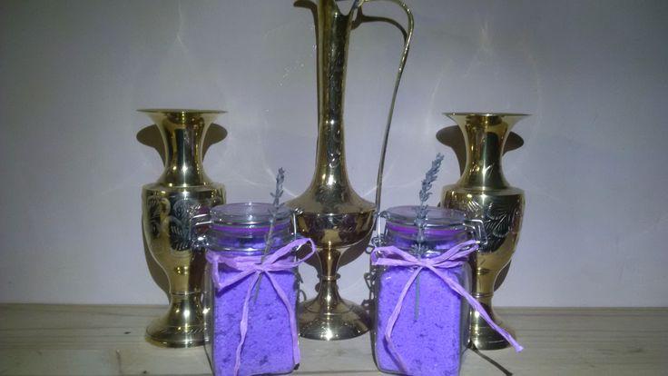 250ml Square Glass Bottles - Lavender Bath Salt