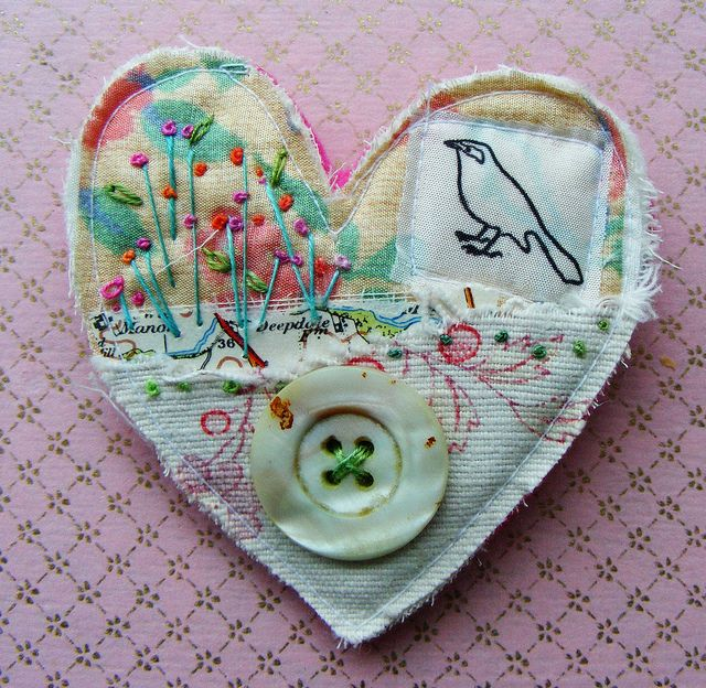 textile collage brooch by hens teeth, via Flickr