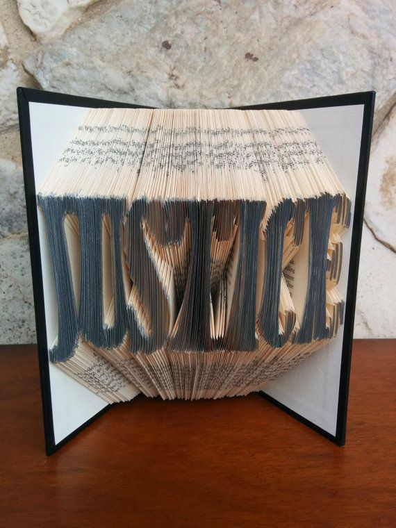 JUSTICE Folded Word Book Art Unique lawyer gift by MynMakes