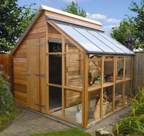My ideal shed with a partial greenhouse area!! love it.