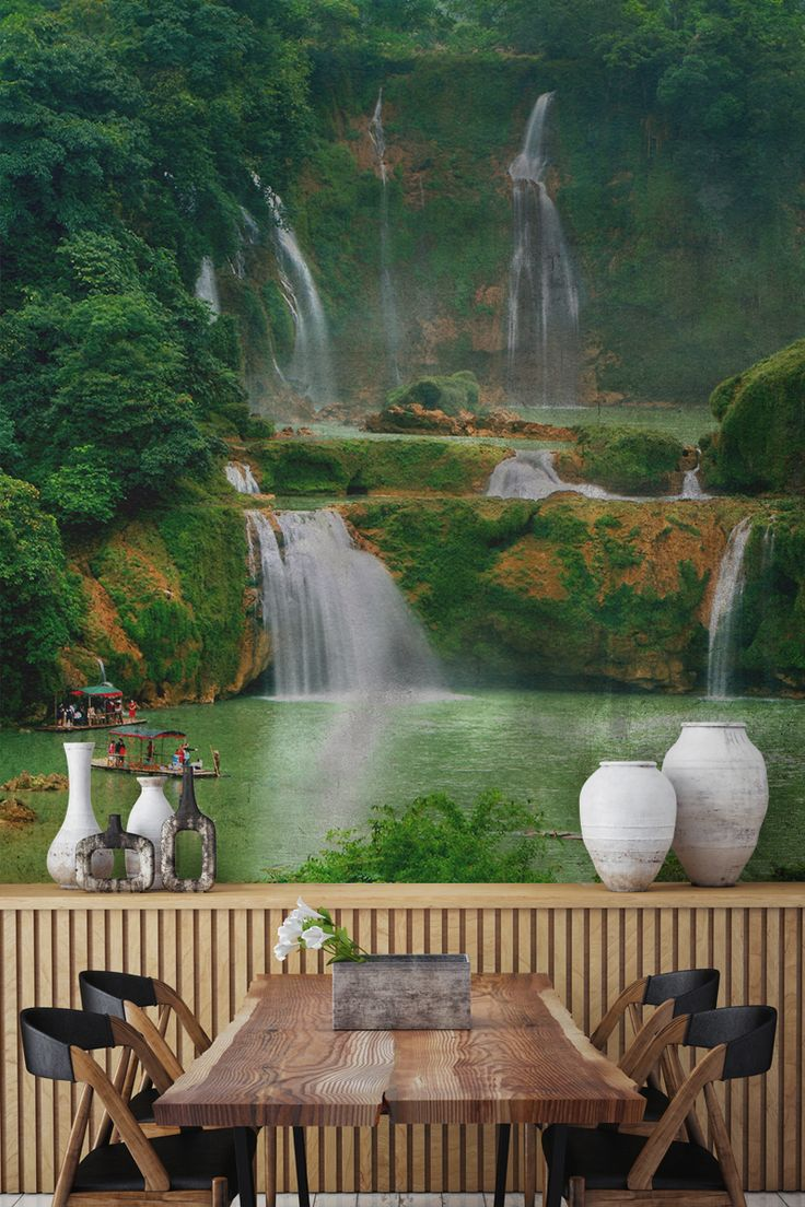 Want a dining room with a view? This Asian waterfall landscape mural showcases the beauty of the great outdoors. Deep emerald tones bring a sense of freshness and energy to your interiors. Combine with wooden furnishings to create an refreshingly exotic feel to dining room spaces.
