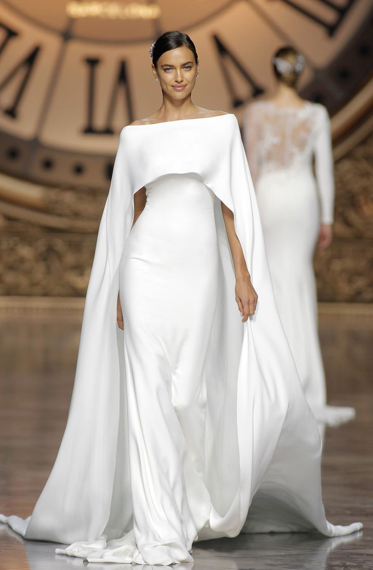 """Verona"" Crepe Dress with Off-Shoulder Neckline & Cape by Atelier Pronovias 