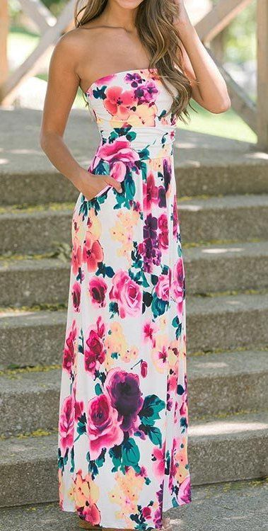 Floral to Ceiling Strapless Maxi Dress. Just bought this but in Navy Blue                           …