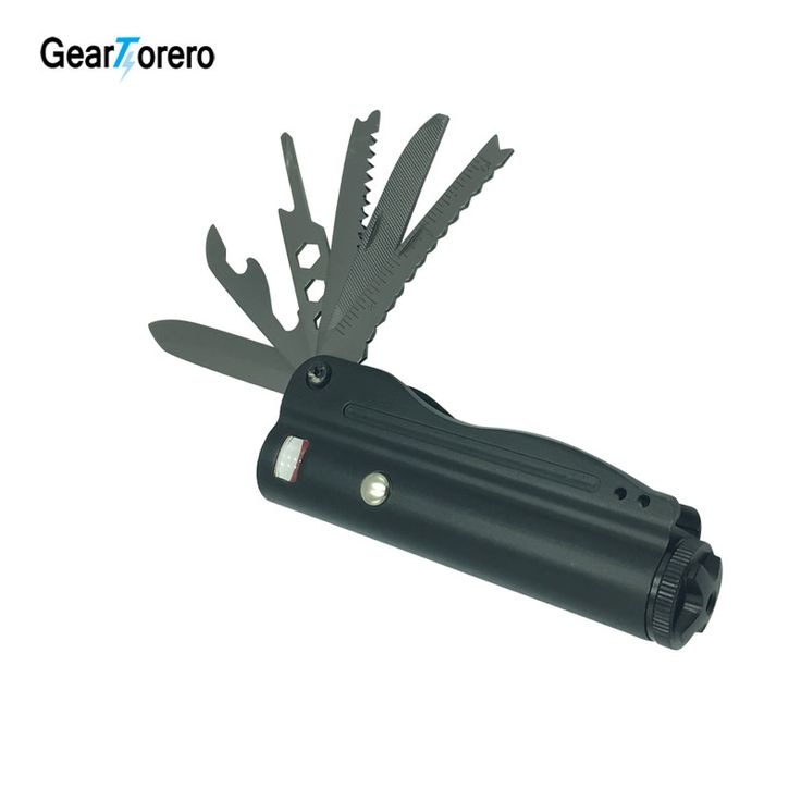 Geartorero Multifunction Tactical Knife Flashlight Self Defense 1000LM Rechargeable 3 Modes Torch Waterproo Led Lantern 18650(China (Mainland))