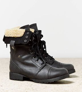 Faux Sherpa Lace Up Boot