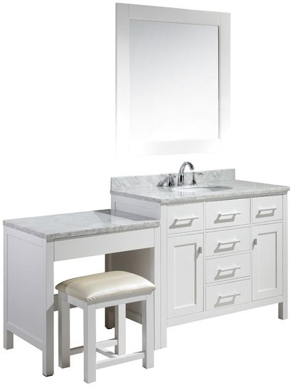 London 42-inch Single Sink Vanity Set in White Finish with One Make-up table in White