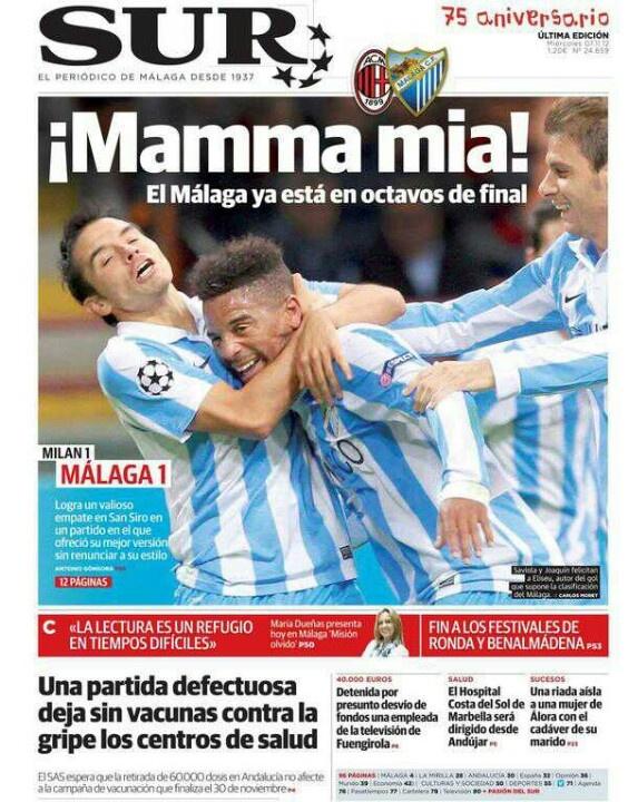 Otra portada para enmarcar ¡Mamma mía! por @Diario_SUR El Málaga CF haciendo la más grande historia