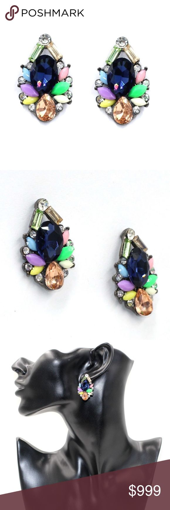 COMING SOON! Multicolor Crystal Statement Earrings Coming Soon!! (Price available upon arrival). Brand new in original packaging! Colorful & bold, these gem drop earrings will turn heads! gorgeous oversized jewel statement studs feature navy, champagne topaz, amber, sky blue, neon yellow, green, blush pink, light green, lavender purple, creamy white & clear crystal embellishments set in antique silver colored metal alloy with push backs. Multiple colors available! Jewelry Earrings