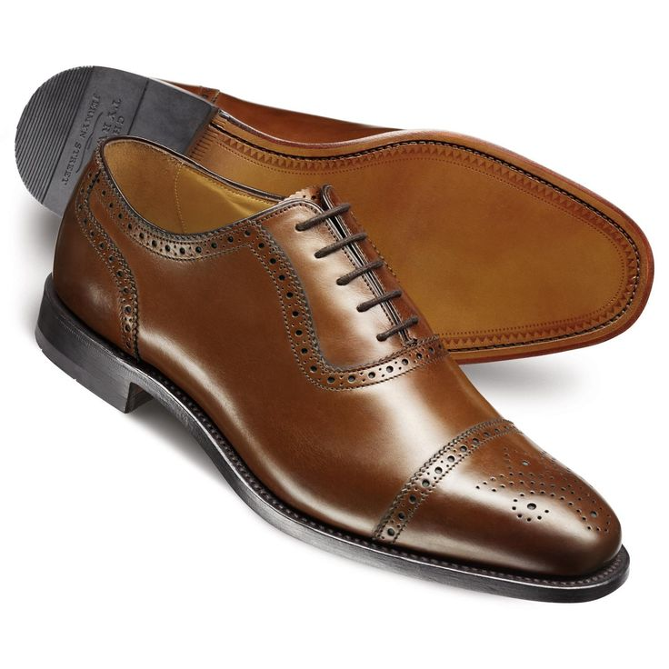 Brown Clarence toe cap brogue shoes | Men's business shoes from Charles Tyrwhitt, Jermyn Street, London