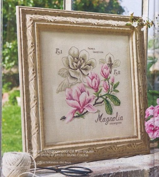 картина, вышивка крестом, простая и удобная цветная схема, магнолия, магнолии вышитые крестом, серия Ботаника