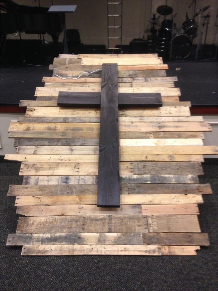 pallet wood cross -- smaller  |  Church Stage Design Ideas