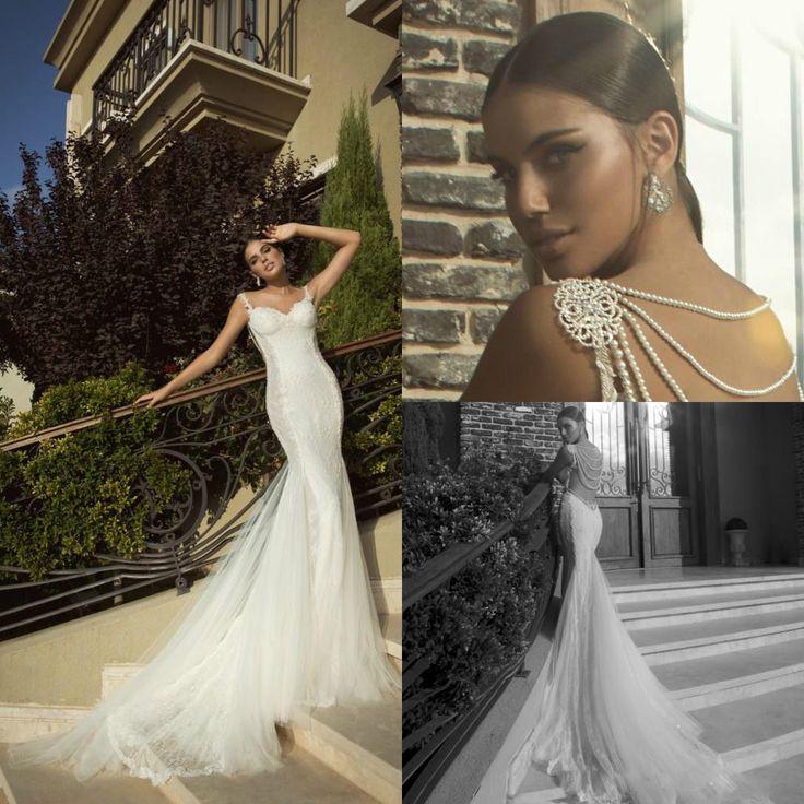 robe de mariée sirènes dos nu avec rangs de perles
