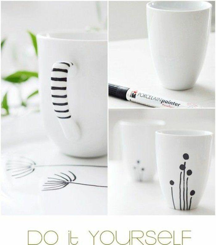 cadeau pour la fête des mères a fabriquer, dessiner sur une tasse à café