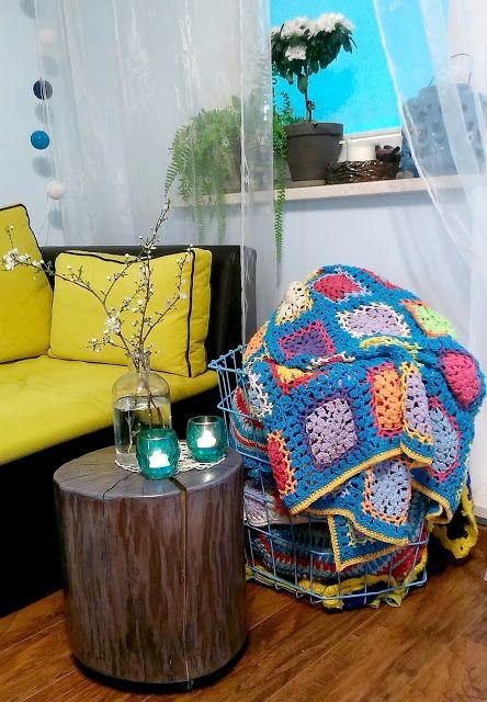 at my living room, crochet blanket