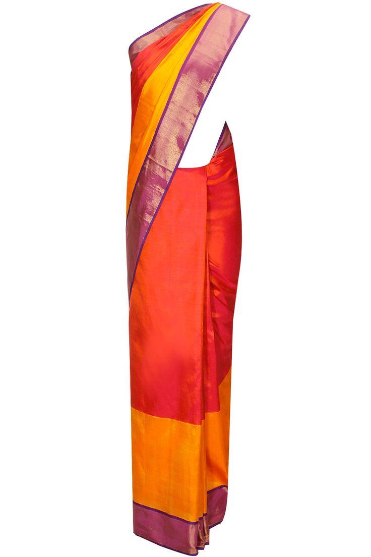 Jyothika traditional sari at shobi wedding saree blouse patterns - Ekaya Presents Colour Blocked Reddish Pink And Yellow Handwoven Sari With Blouse Piece Available Only At Pernia S Pop Up Shop