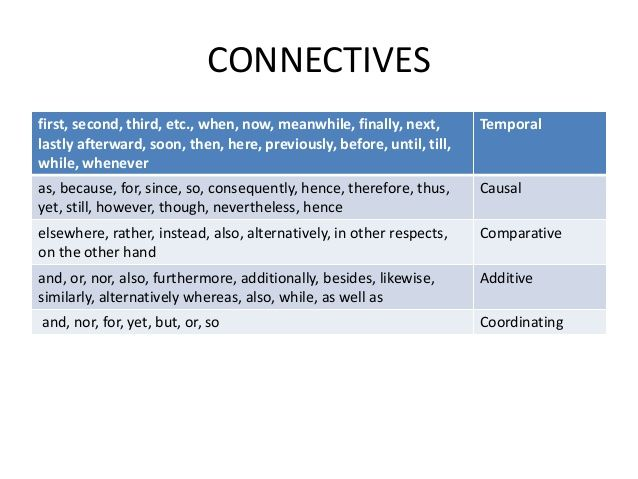 Connectives First Second Third Etc When Now
