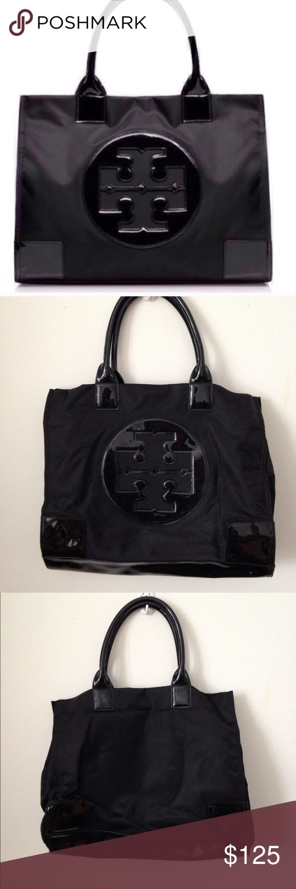 Tory Burch Large Ella Nylon Tote Bag Black Tory Burch Large ELLA Nylon Tote Bag in gently worn shape with some light signs of wear and tear. Light scratches on corners, edge peeling on handles. Perfect for weekend getaways! Tory Burch Bags Totes