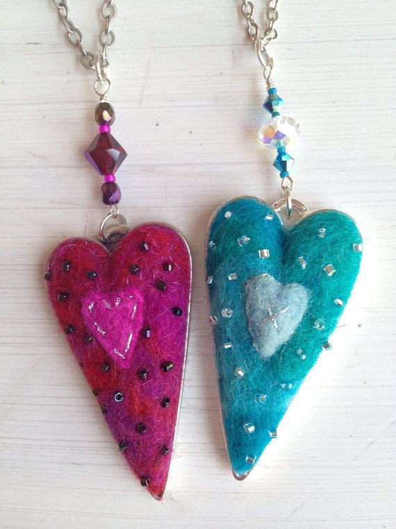 Needle Felted Beaded Heart Pendant Necklace by ValsArtStudio, $64.00