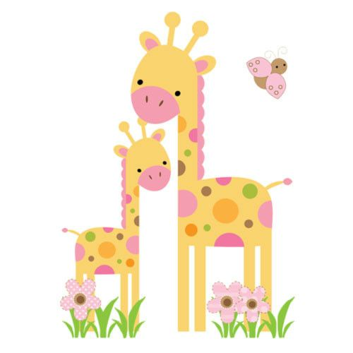 Mod Giraffe Wall Mural Decals Baby Girl Nursery Kids Room Jungle Stickers Decor | eBay