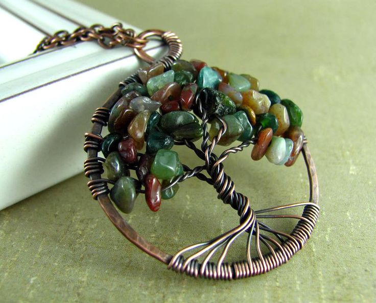 Tree Of Life Pendant Necklace Wire Wrapped Pendant Jasper Copper Necklace.