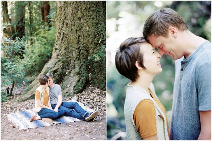 wavy pixie cut with a front flip. So cute! engagement photo shoot in the Redwoods | Lauren Guilford