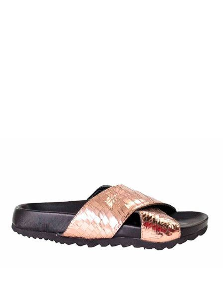 Skin - Nude Shoes - Broome Sliders - Copper - Leather - Metallic $99.90