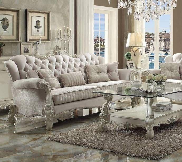 Ivory Velvet And Bone White Sofa Traditional Acme Furniture