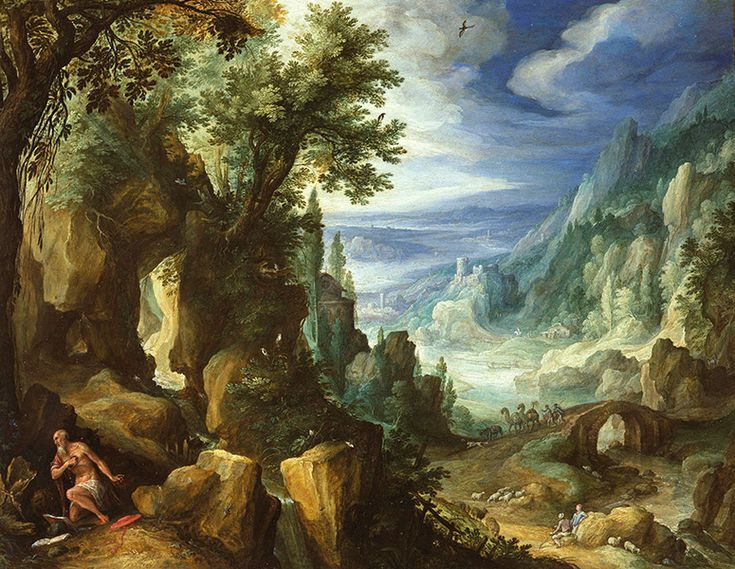 Paul Bril. Mountainous Landscape with Saint Jerome (1592)  Mauritshuis