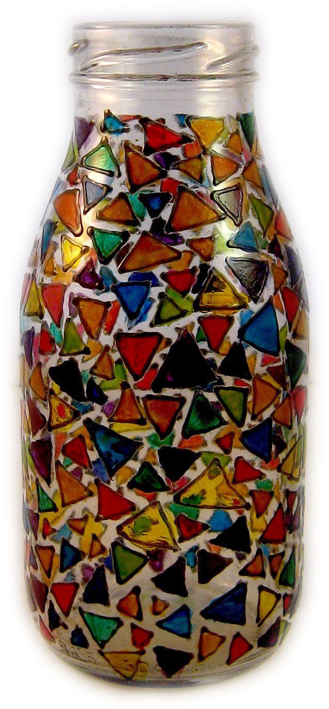 Designer Hand Painted multi coloured triangles milk bottle by HandPaintedJar on Etsy