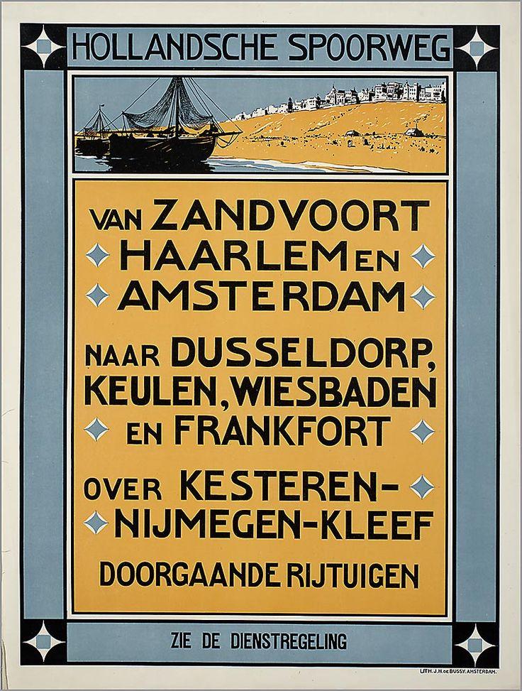 Hollandsche Spoorweg. Van Zandvoort, Haarlem en Amsterdam naar Dusseldorp, Keulen, Wiesbaden en Frankfort over Kesteren - Nijmegen - Kleef