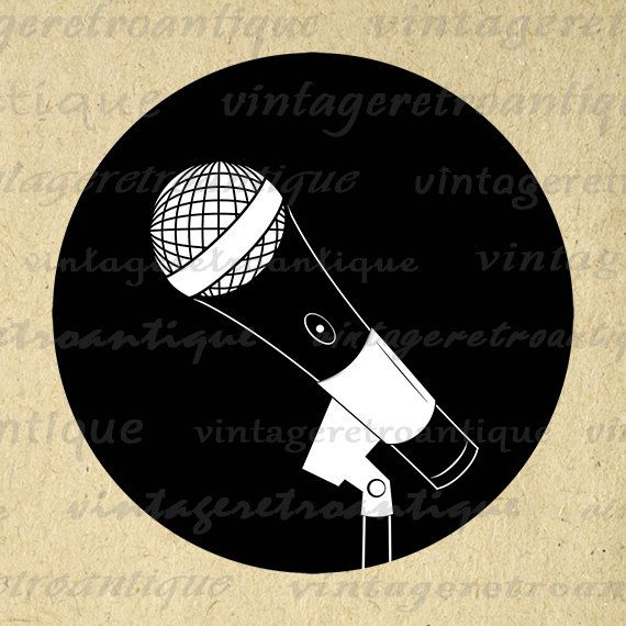 Digital Printable Microphone Image Music by VintageRetroAntique