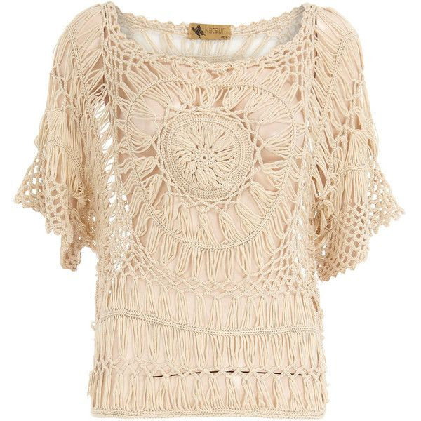 Beige short sleeve crochet top - Dorothy Perkins - Polyvore (out of stock... might have to attempt a diy!)